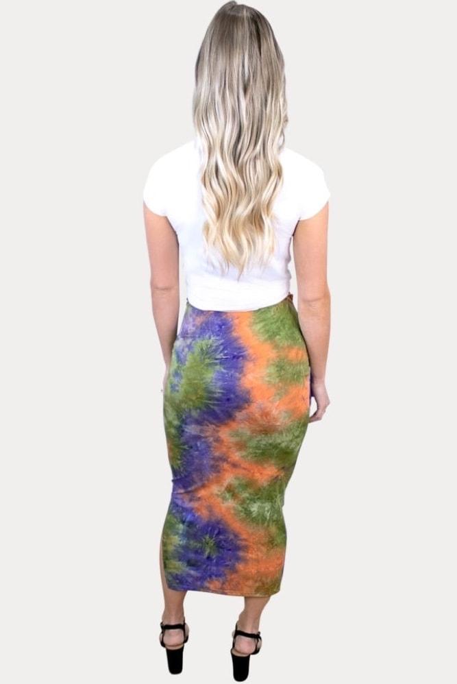 flattering tie dye maternity skirt