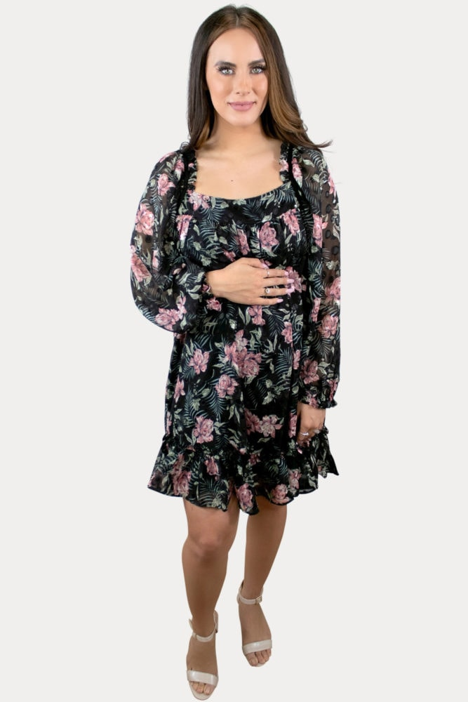 floral and leaf maternity dress