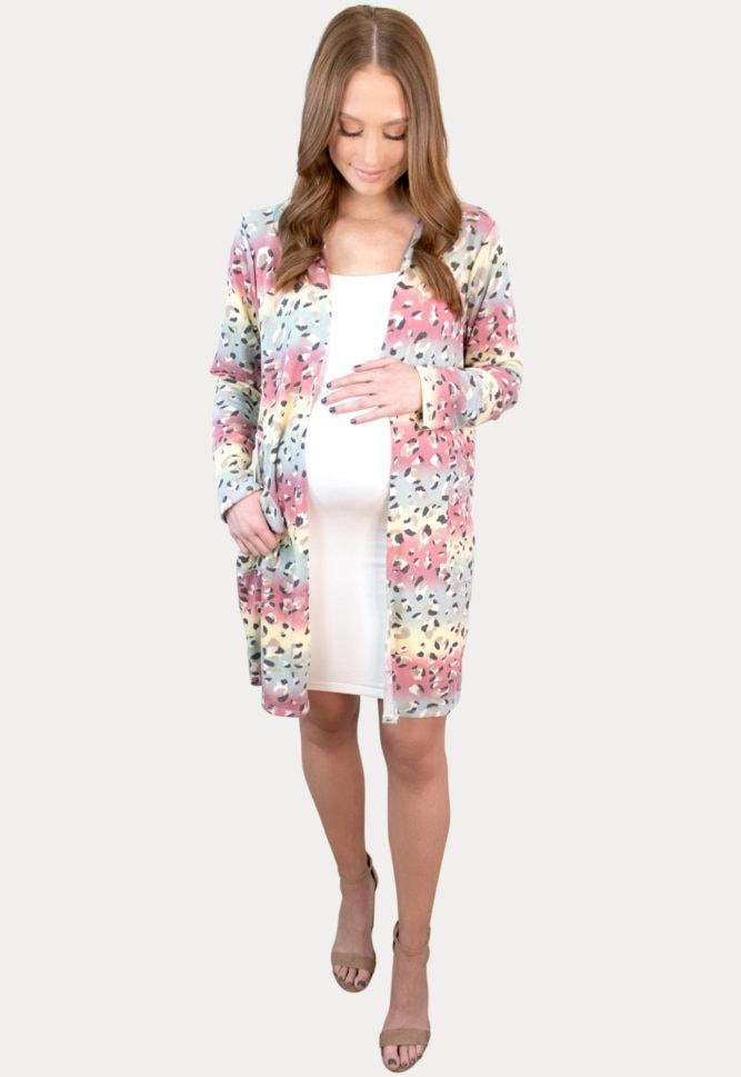 multi colored pregnancy cardigan