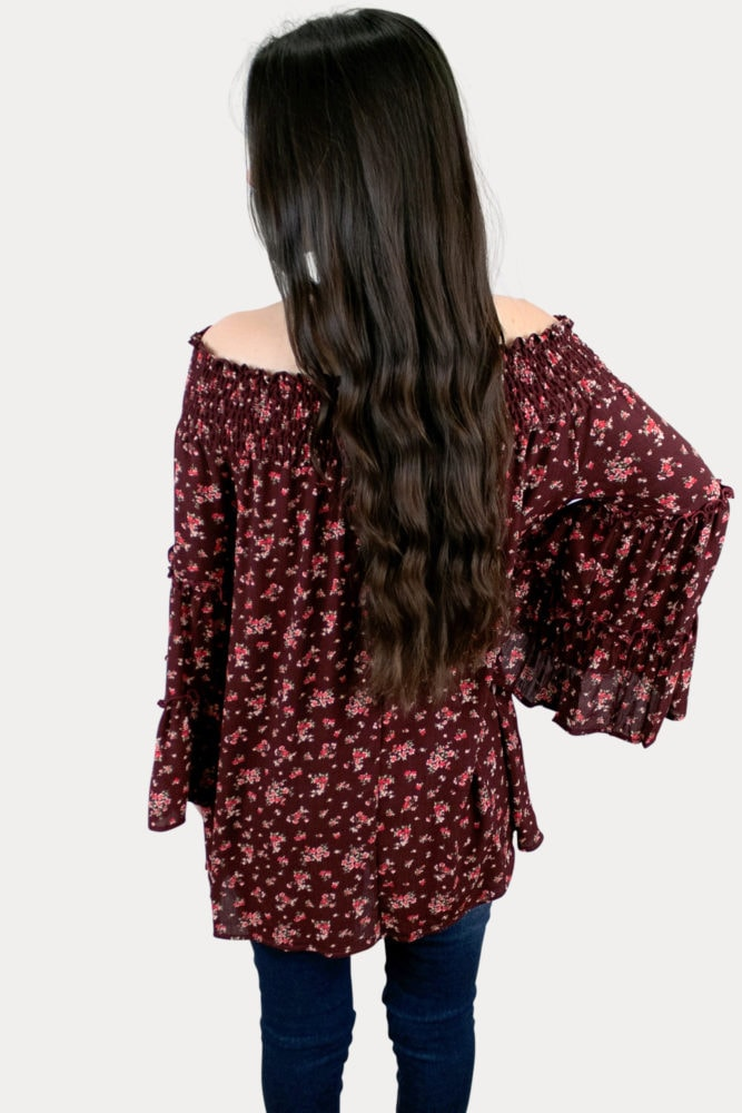floral bell sleeve pregnancy top
