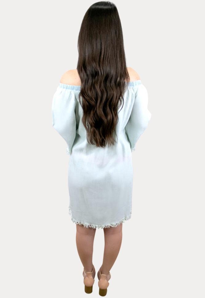 frayed hem maternity dress
