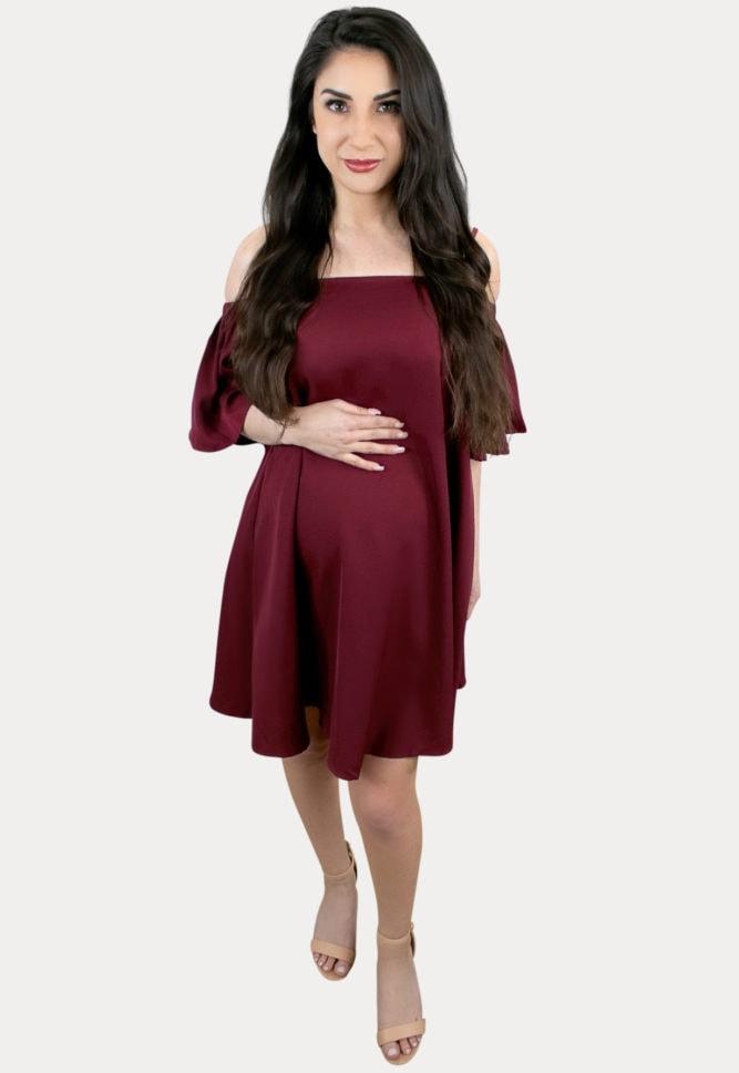 ruffle sleeve pregnancy dress