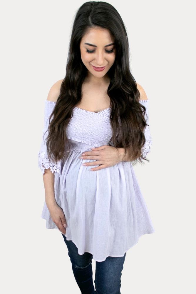 purple maternity shirt