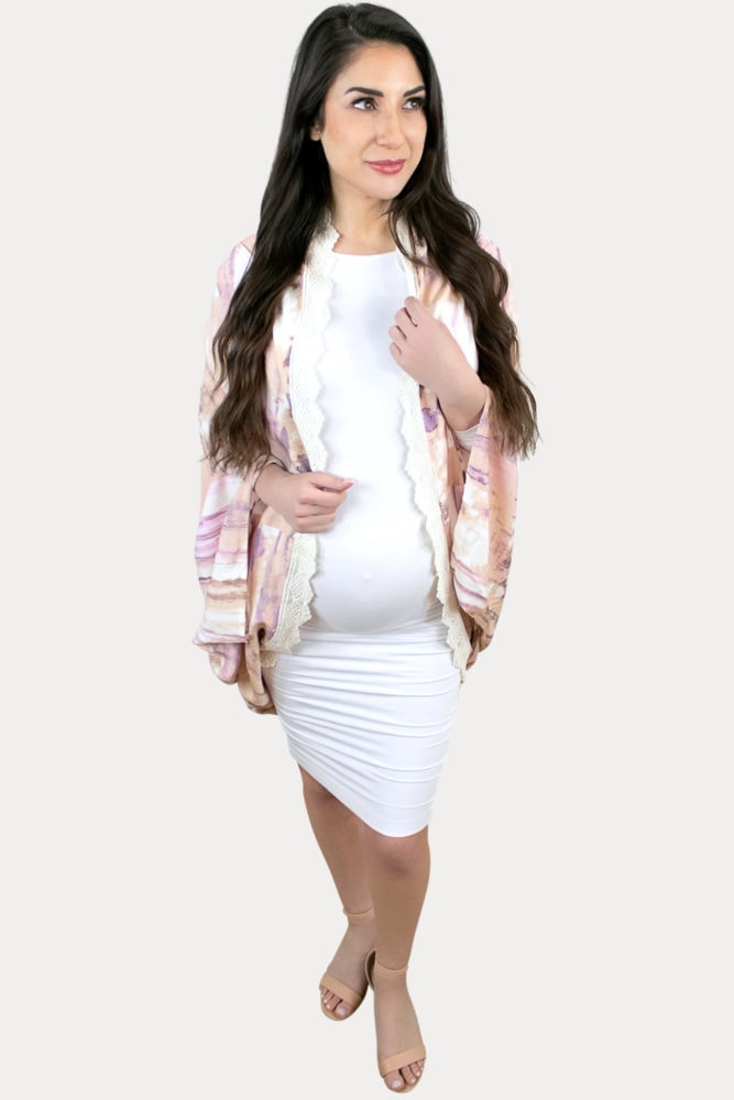stylish tie dye maternity cardigan