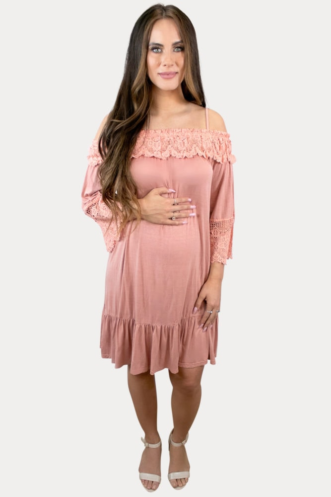 coral maternity dress