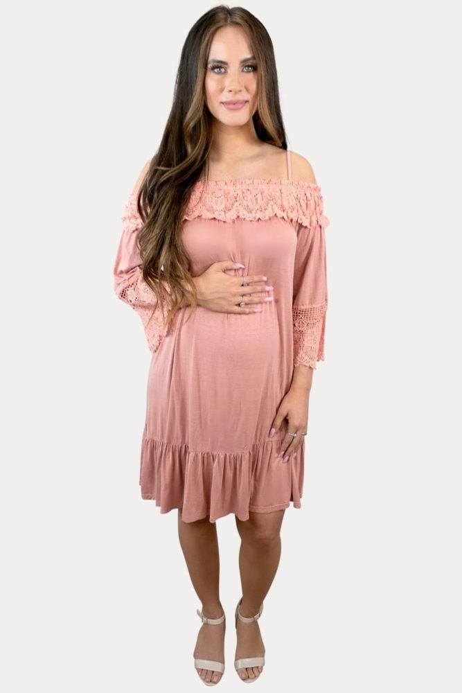 coral maternity dress