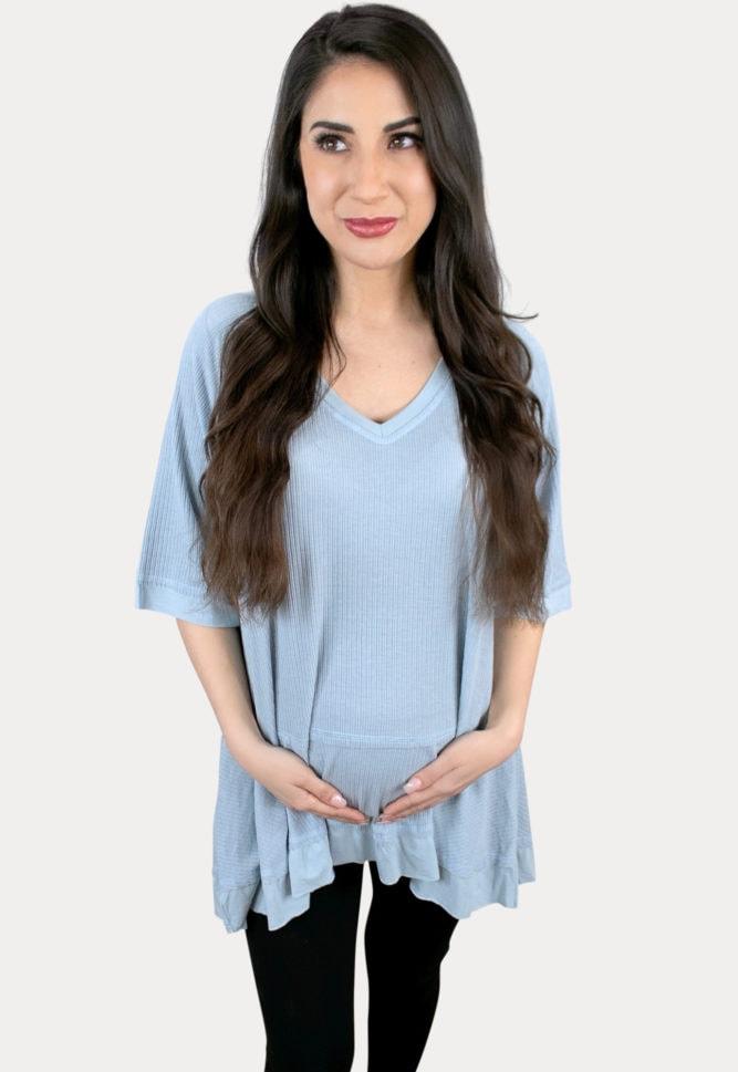 blue maternity tee