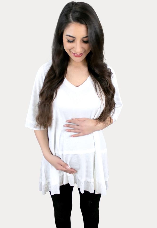 cream maternity tee