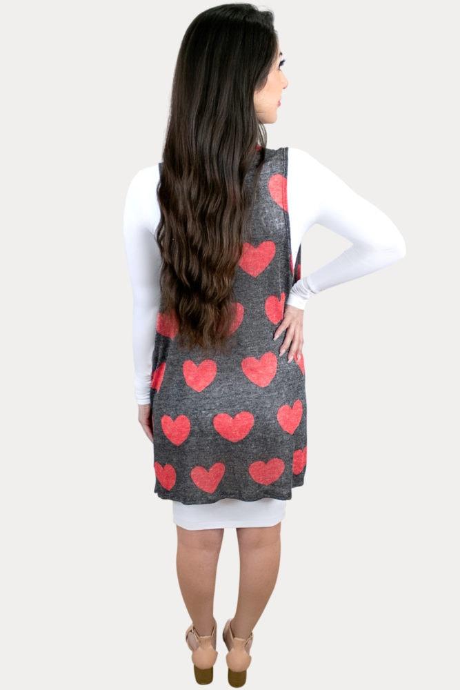 heart print maternity kimono