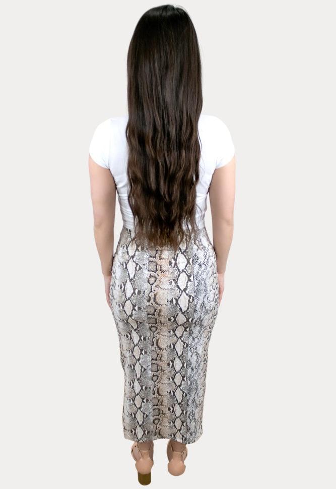snake print maternity skirt