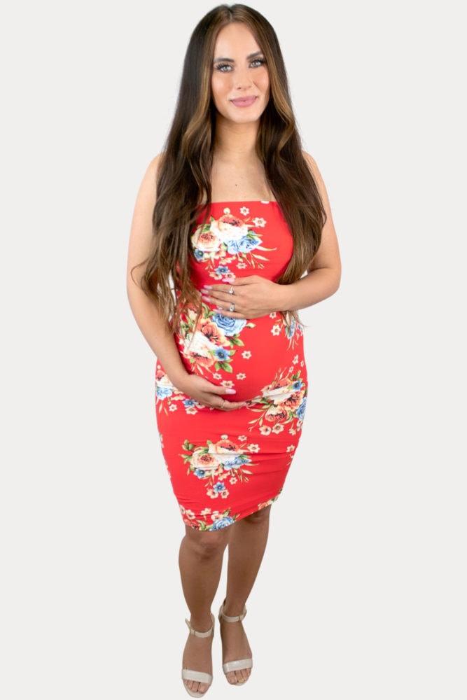 strapless floral pregnancy dress