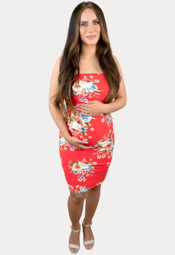 strapless floral pregnancy dress