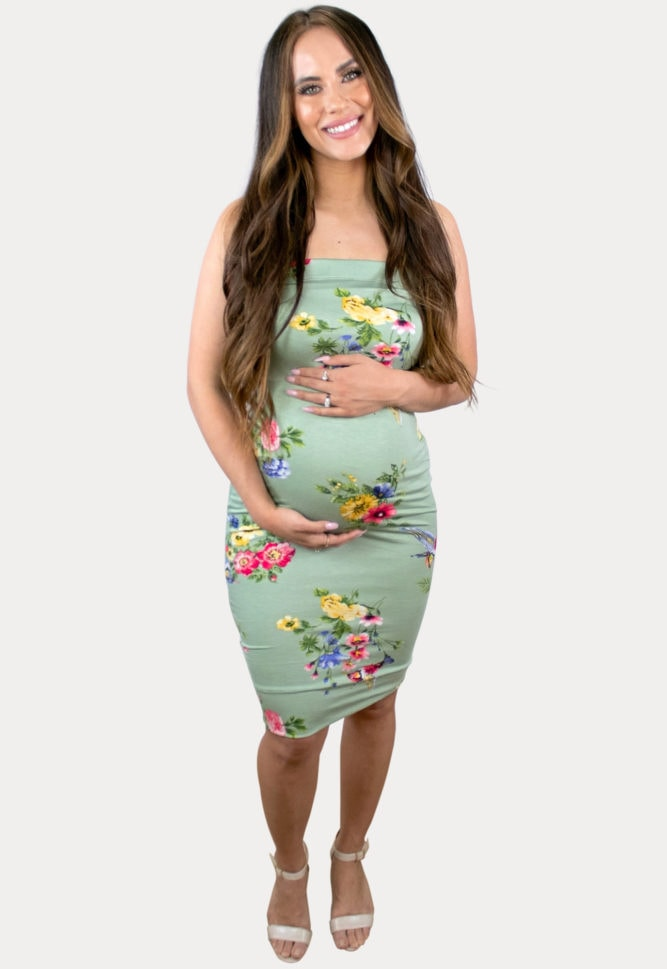 strapless floral maternity bodycon