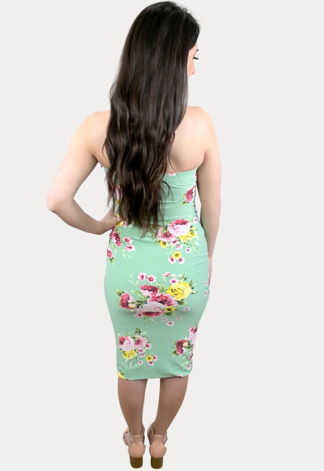 strapless floral pregnancy bodycon