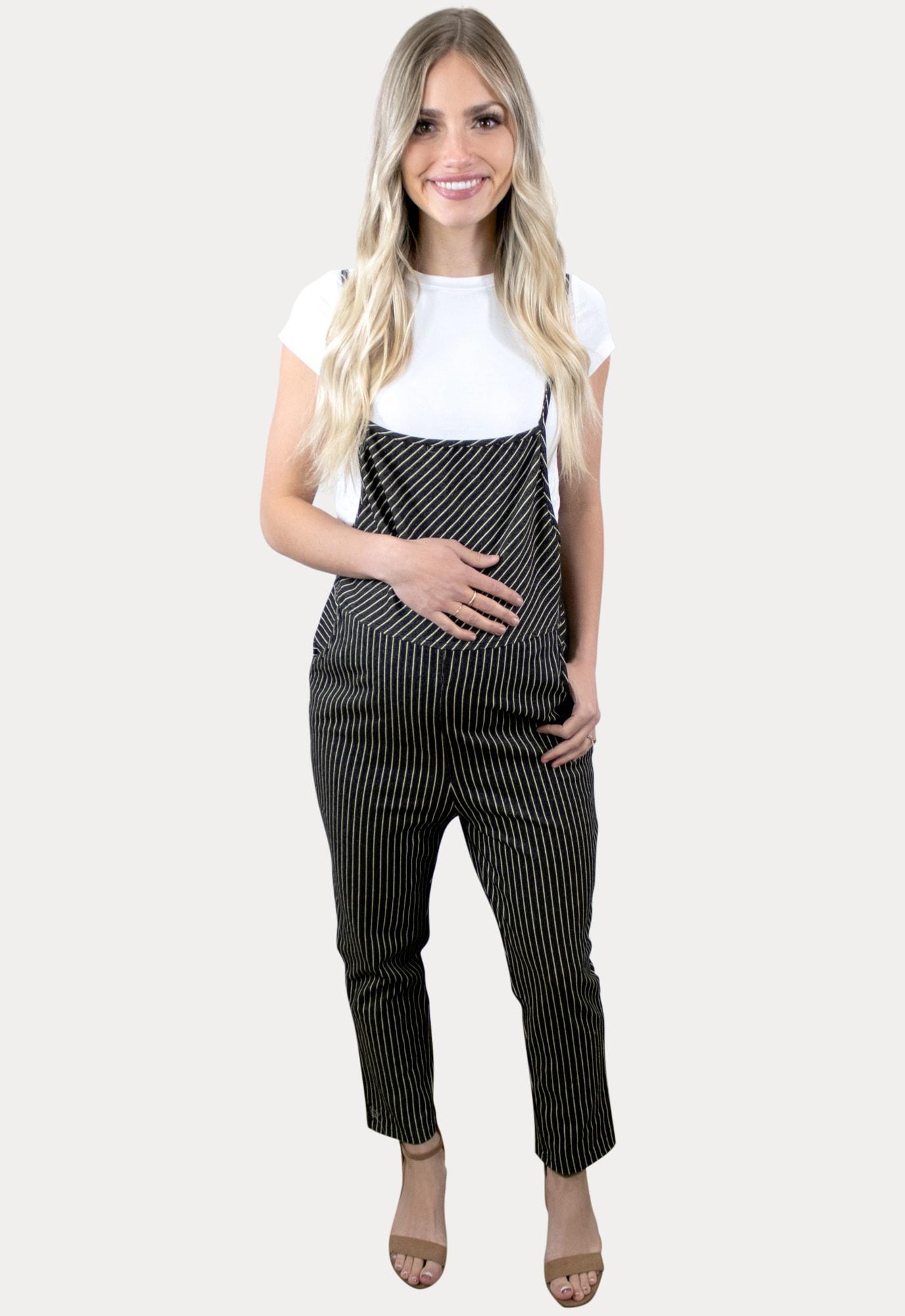 striped maternity coveralls