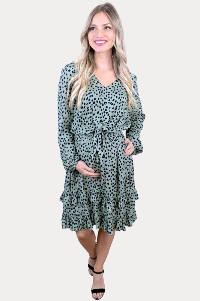 maternity dress with polka dots