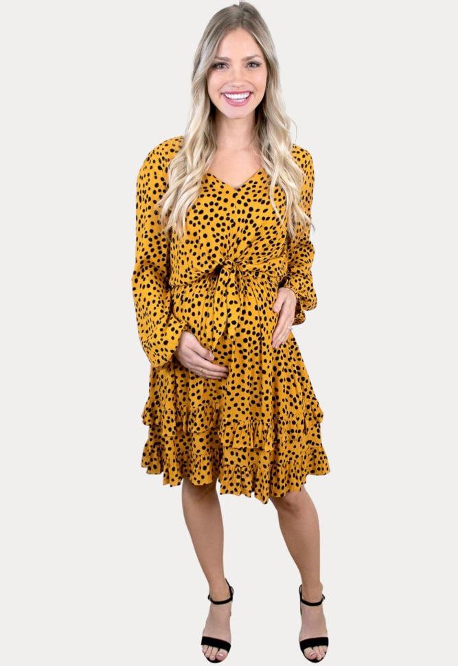 long sleeve polka dot maternity dress