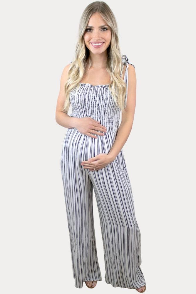 tie strap maternity jumpsuit