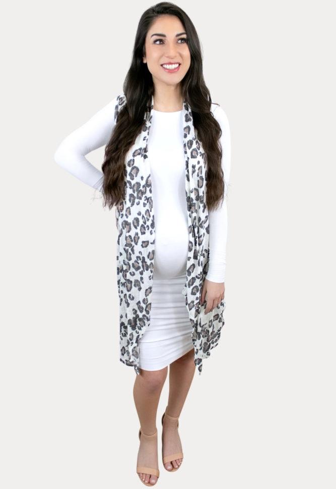 sleeveless leopard pregnancy kimono