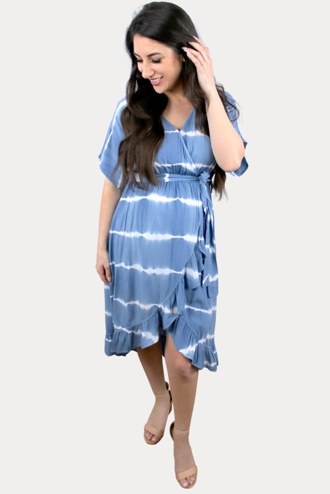 blue striped maternity dress