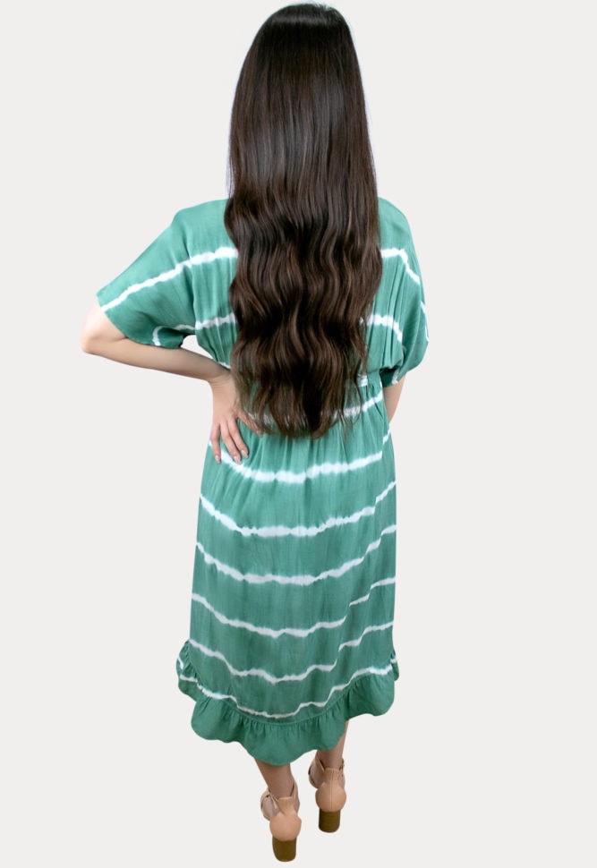 green striped maternity dress