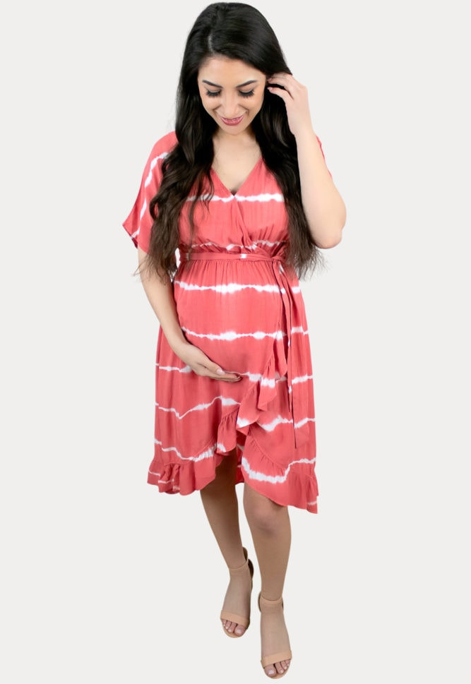 red striped maternity dress