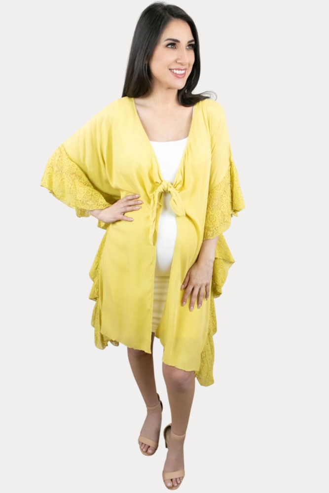 yellow pregnancy cardigan