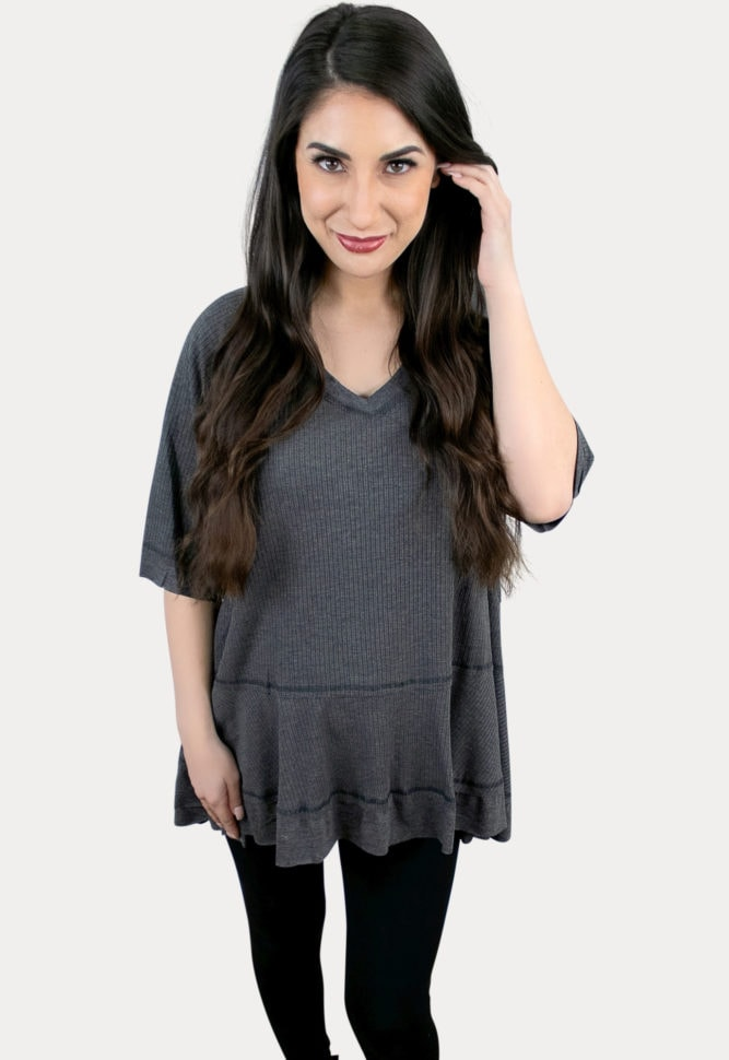 charcoal maternity top