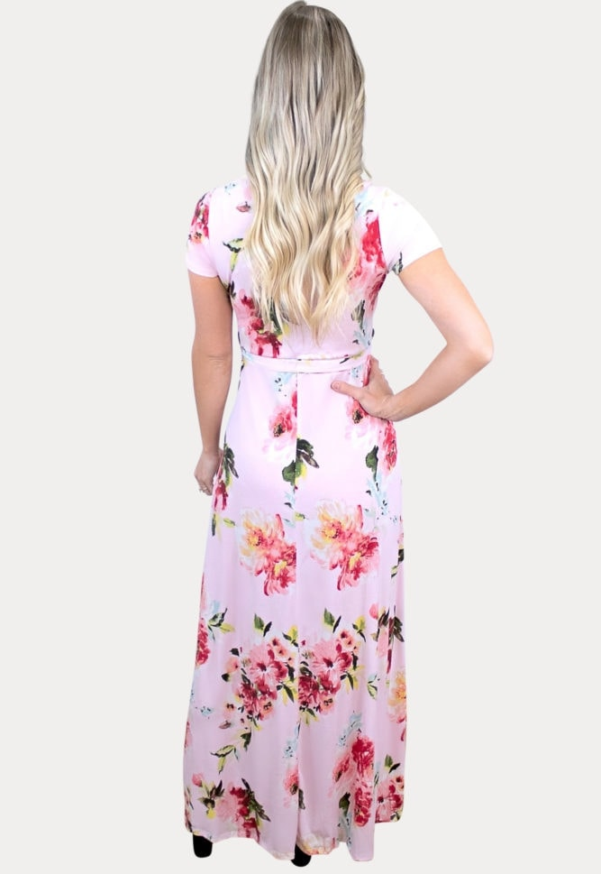 maternity floral maxi in pink