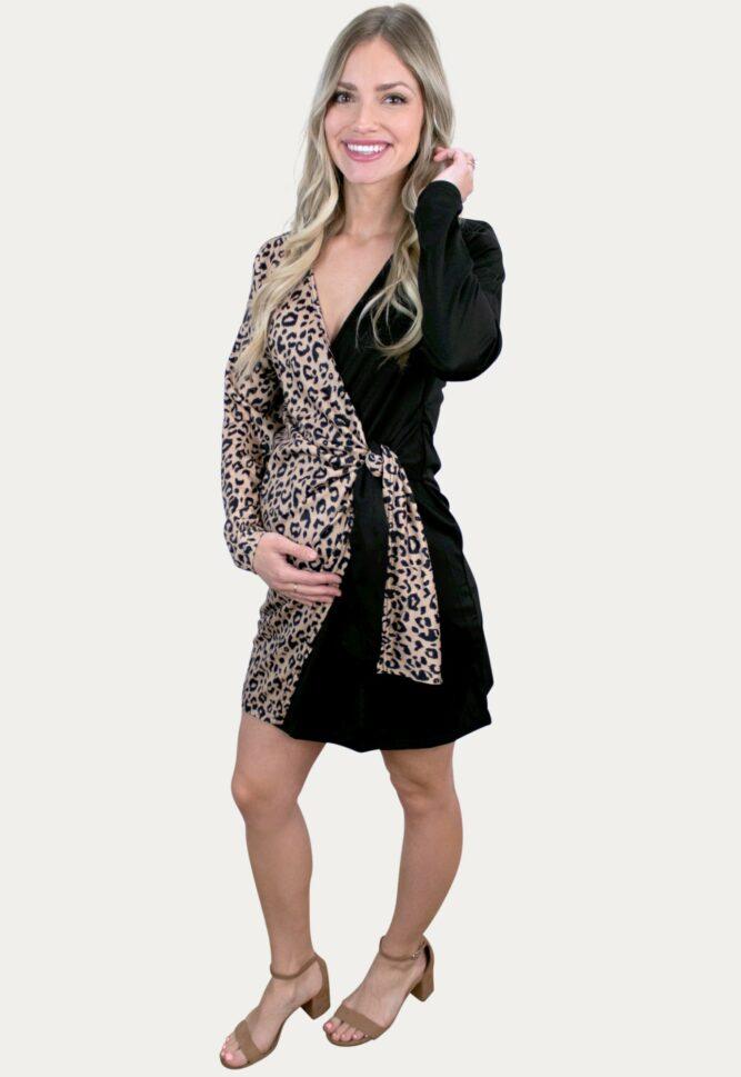 Leopard Wrap Maternity Dress