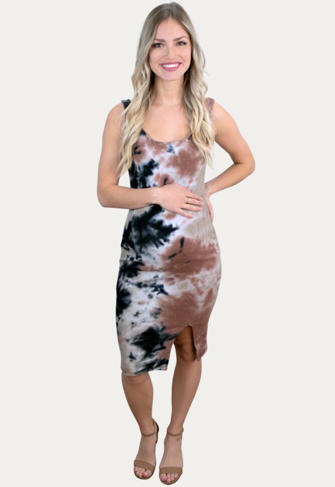 Brown Tie Dye Maternity Dress