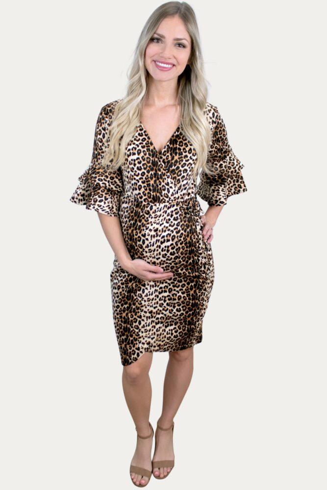 Leopard Bodycon Maternity Dress