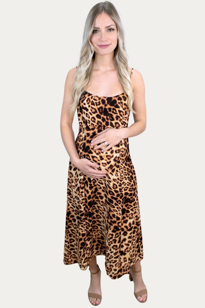 Leopard A-Line Maternity Dress