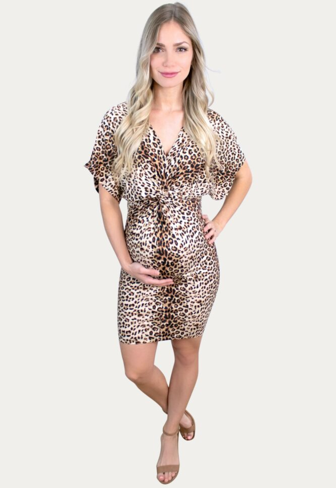 leopard v-neck pregnancy dress