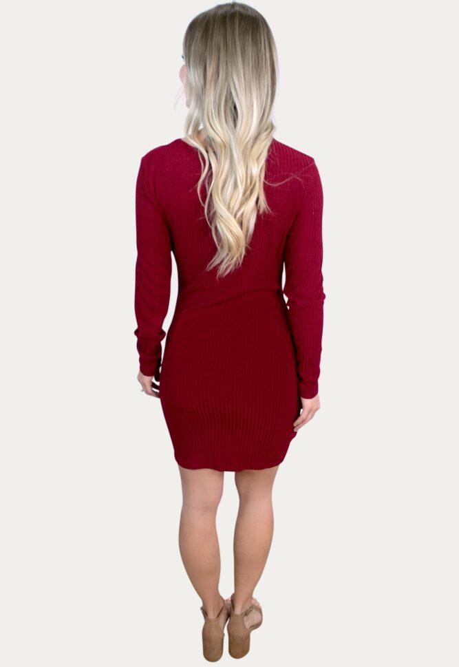 ribbed burgundy maternity dress