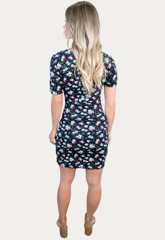 navy floral pregnancy dress