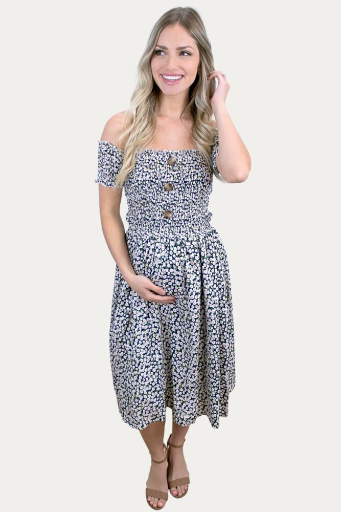 floral smock maternity dress