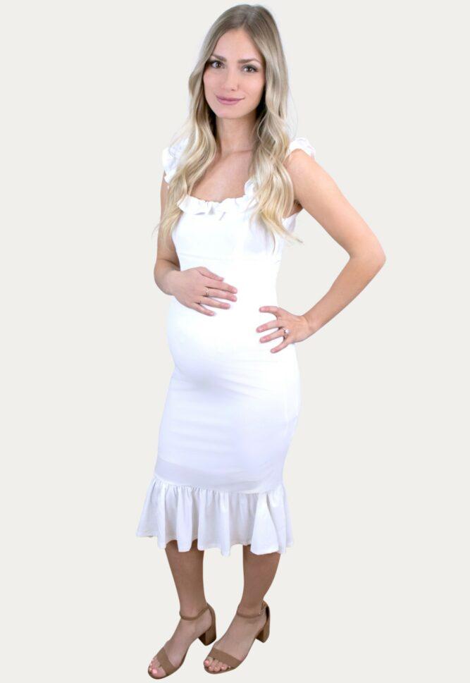 Ruffle Flare Maternity Dress