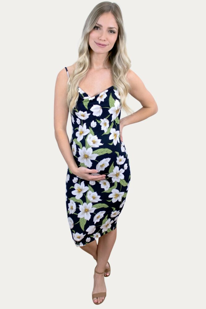 Floral Cowl Neck Maternity Dress