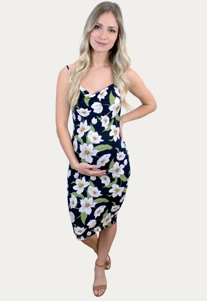 Floral Cowl Neck Maternity Dress