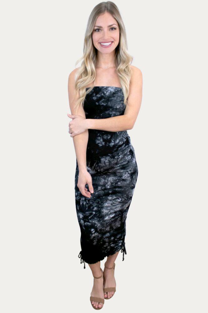black tie dye maternity dress