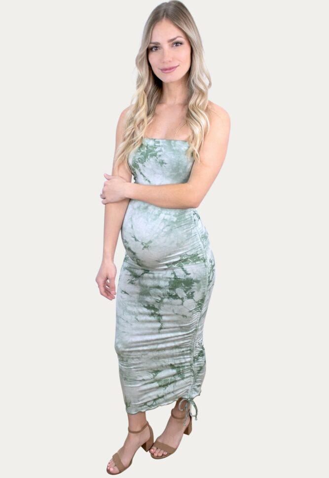 green tie dye maternity dress