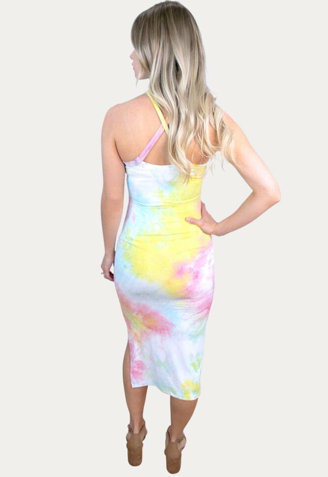 halter tie dye maternity dress