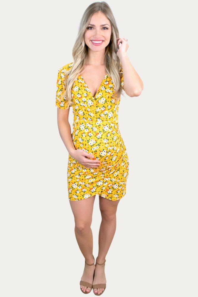 yellow floral pregnancy dress