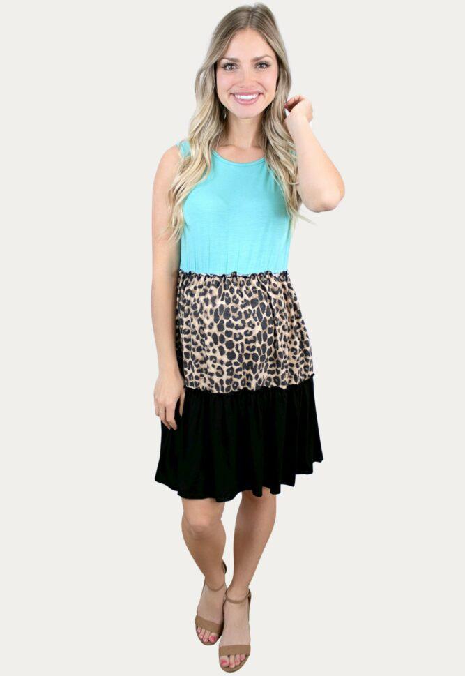 blue leopard maternity dress