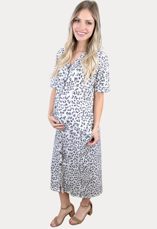 button front leopard maternity maxi
