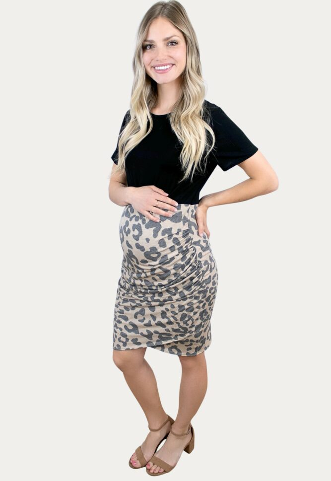 ruched leopard maternity dress