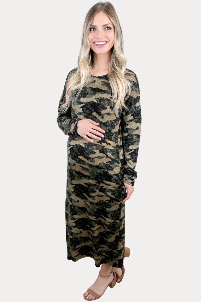 camo maternity maxi dress