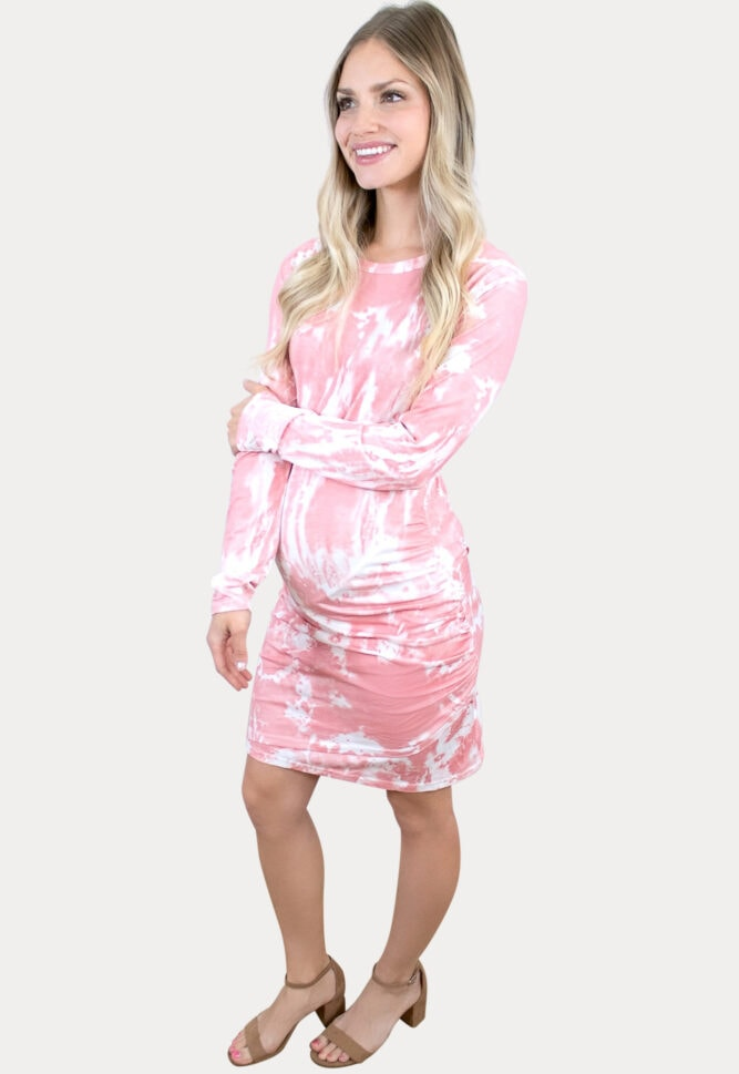 tie dye ruched maternity dress