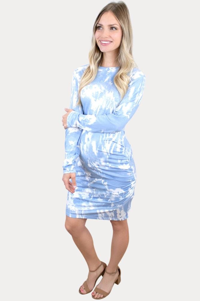 tie dye ruched pregnancy dress